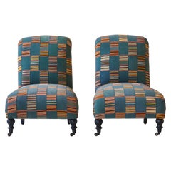 Pair of French Slipper Chairs Upholstered in West African Fabric