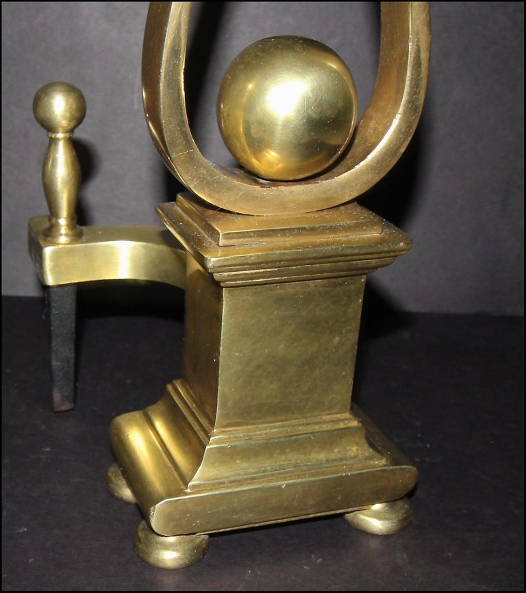 Pair of French Solid Brass Lyre Shape Andirons For Sale 7