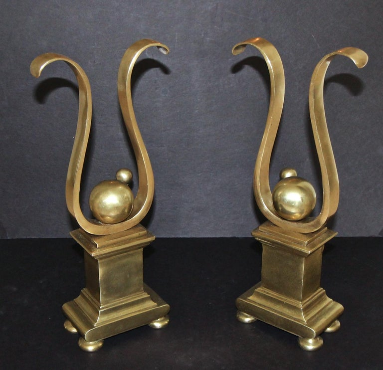 Pair of French Solid Brass Lyre Shape Andirons In Good Condition For Sale In Palm Springs, CA