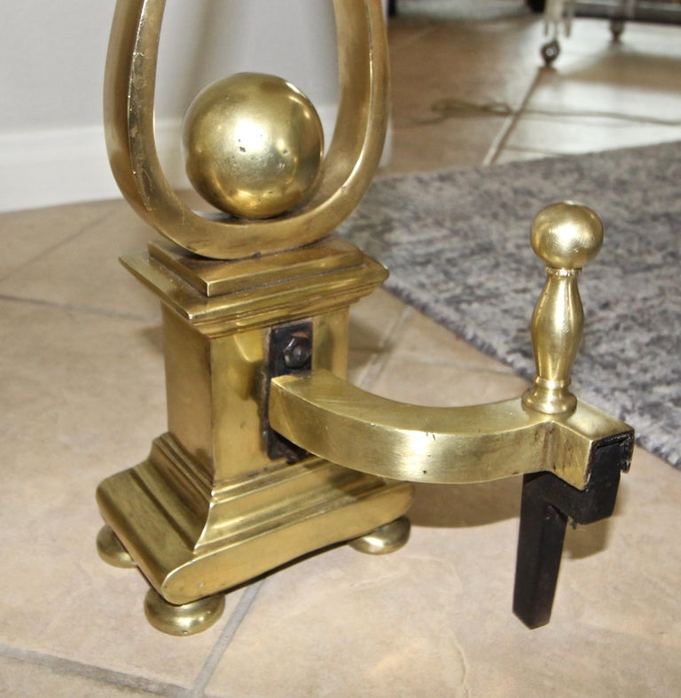 Pair of French Solid Brass Lyre Shape Andirons For Sale 5