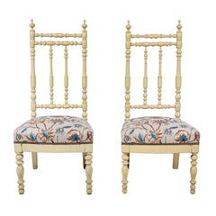 Pair of French Spindle Side Chairs with Floral Seat Cushion