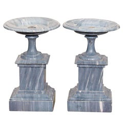 PAIR OF FRENCH ST ANNE GRAY MARBLE TAZZA