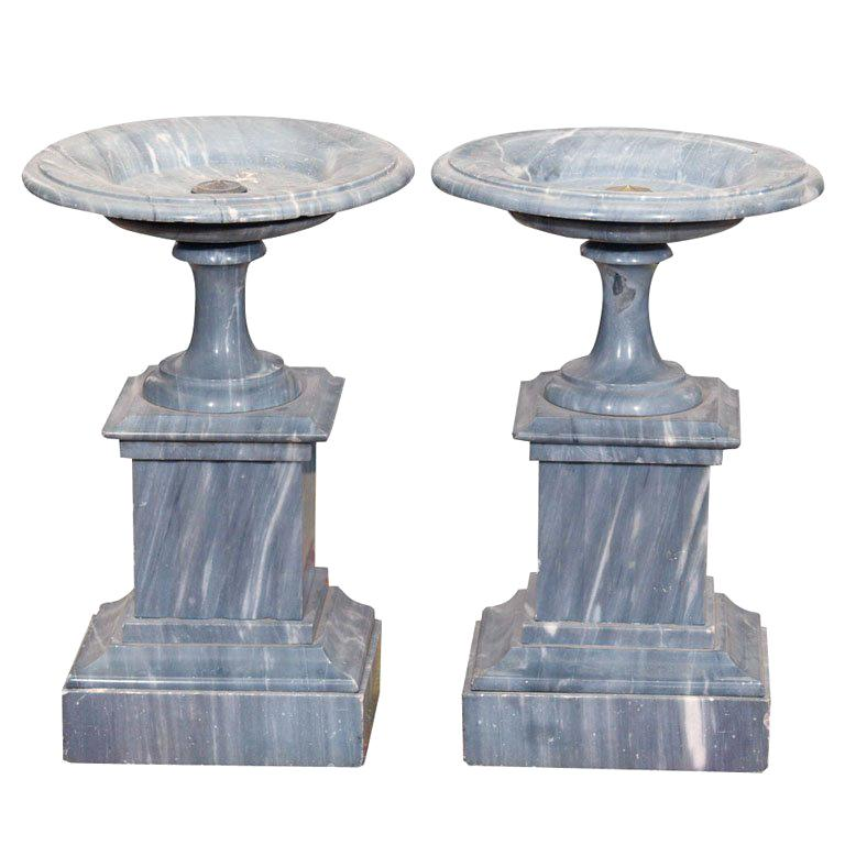 PAIR OF FRENCH ST ANNE GRAY MARBLE TAZZA For Sale