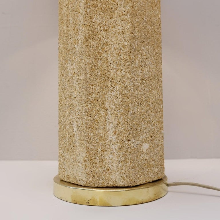 Mid-Century Modern Pair of French Stone Lamps For Sale