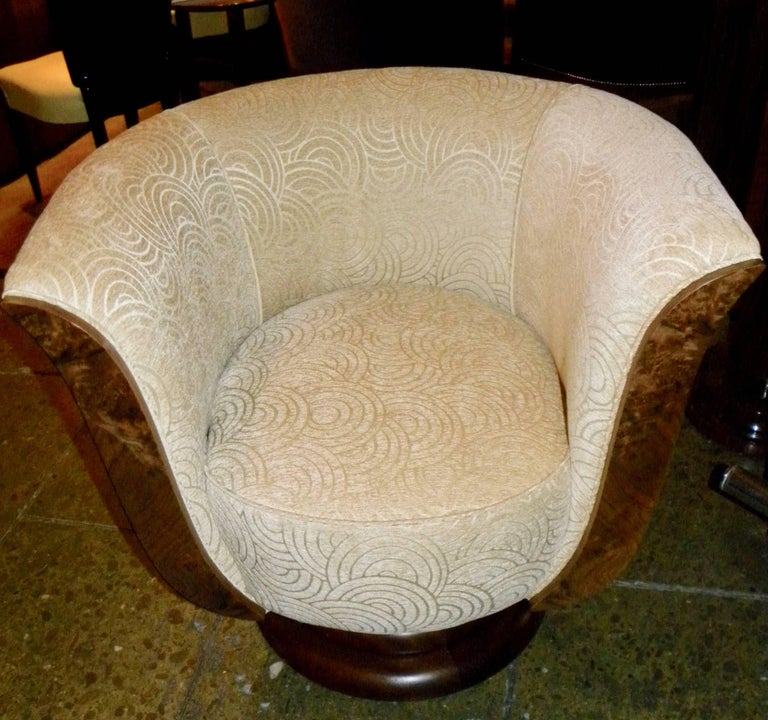 American Pair of French Style Art Deco Swivel Chairs For Sale