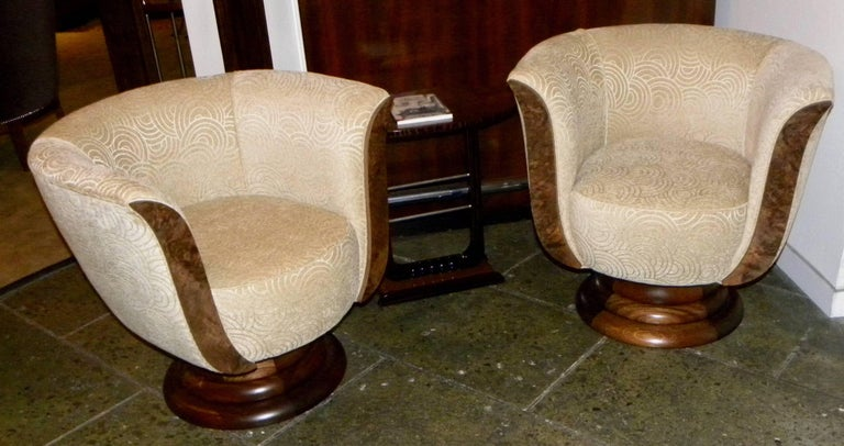 Pair of French Style Art Deco Swivel Chairs In Good Condition For Sale In Oakland, CA