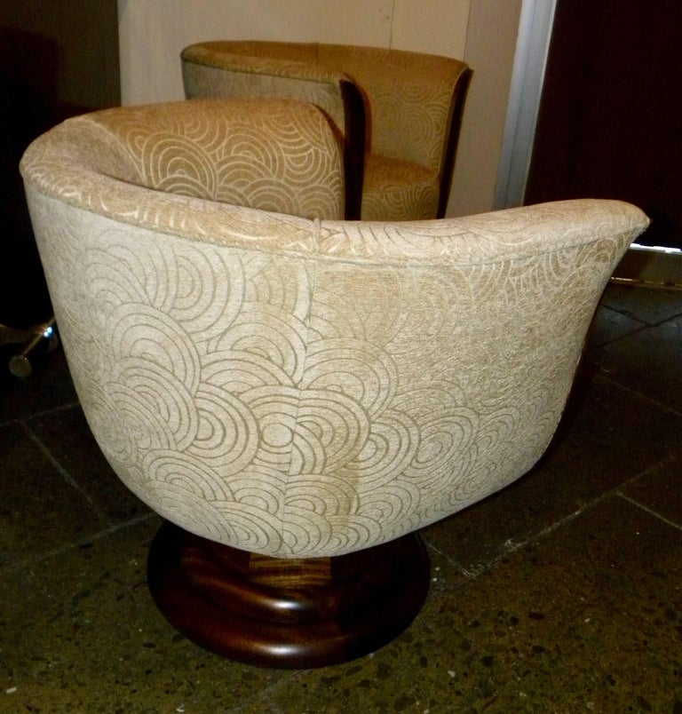 Pair of French Style Art Deco Swivel Chairs For Sale 1