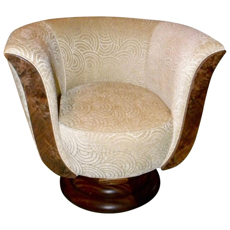 Pair of French Style Art Deco Swivel Chairs For Sale