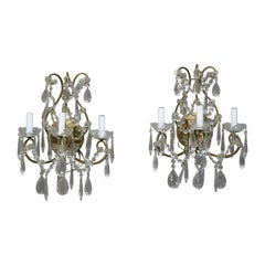 Pair of French Style Brass and Crystal Wall Sconces, circa 1940