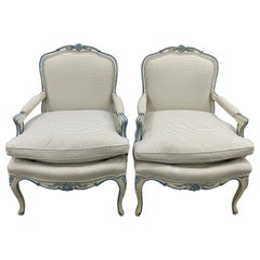 Pair of French Style Carved and Upholstered Armchairs, circa 1940s