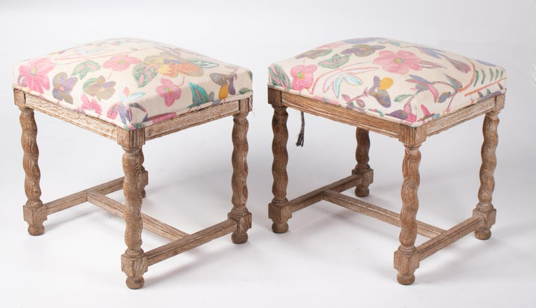 Pair of French Style Carved Wooden Upholstered Stools in Vintage Flower Pattern In Good Condition For Sale In Malaga, ES