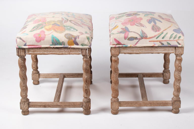 20th Century Pair of French Style Carved Wooden Upholstered Stools in Vintage Flower Pattern For Sale