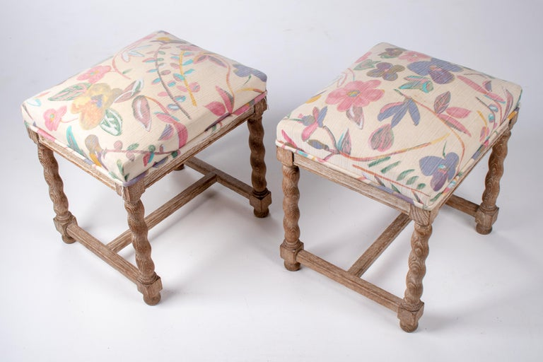 Pair of French Style Carved Wooden Upholstered Stools in Vintage Flower Pattern For Sale 1