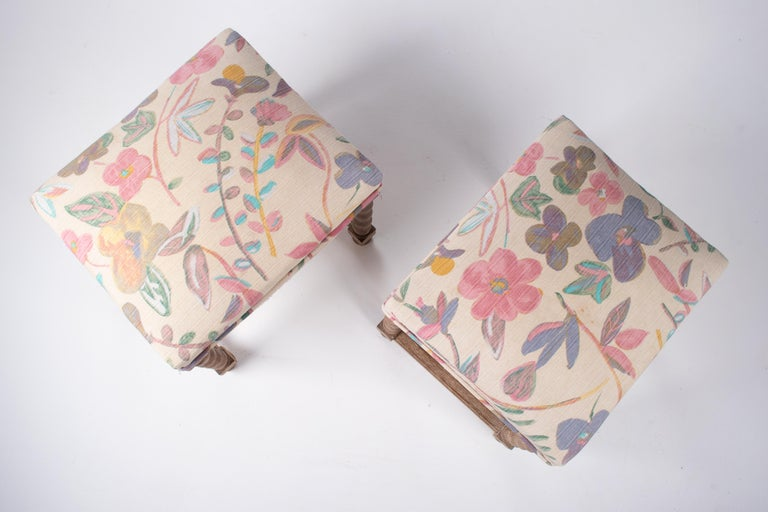 Pair of French Style Carved Wooden Upholstered Stools in Vintage Flower Pattern For Sale 2