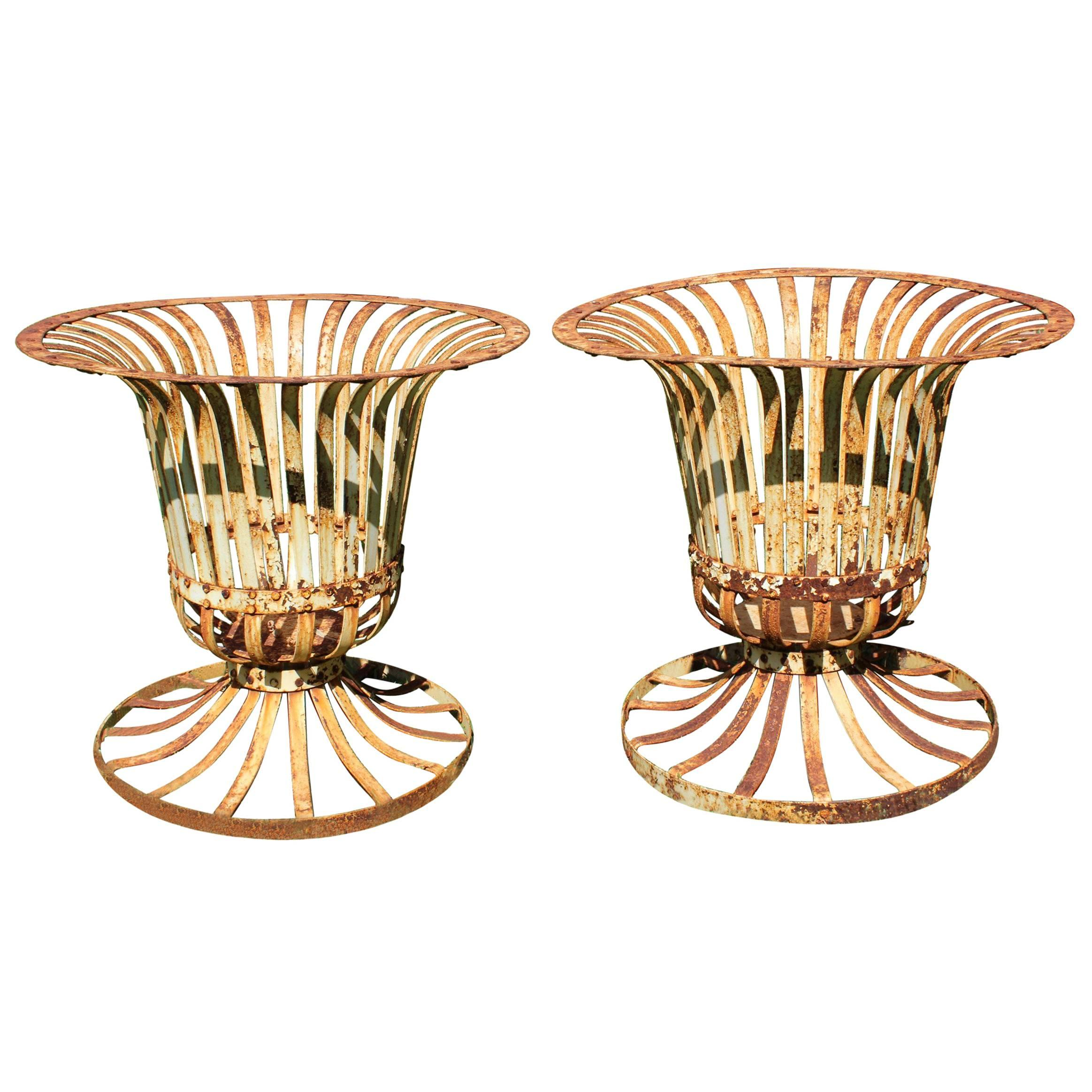 Pair of French Style Classical Wrought Iron Urns