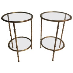 Pair of French Style Gilt Tall End Tables