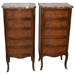 Pair of French Style Lingerie Five-Drawer Walnut Chests with Marble Tops