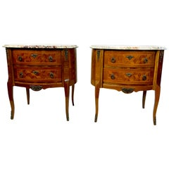 Pair of French Style Louis XV Marquetry Bedroom Side Tables with Marble Tops