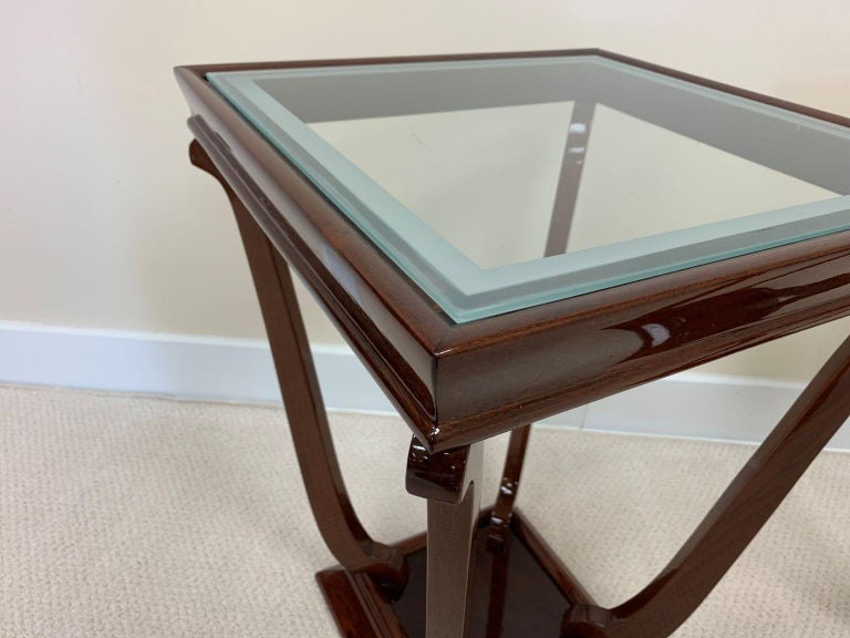 Frosted Pair of French Style Streamline Art Deco Glass Top Side Tables For Sale