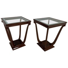Pair of French Style Streamline Art Deco Glass Top Side Tables