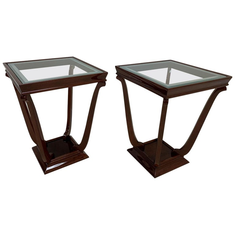 Pair of French Style Streamline Art Deco Glass Top Side Tables For Sale