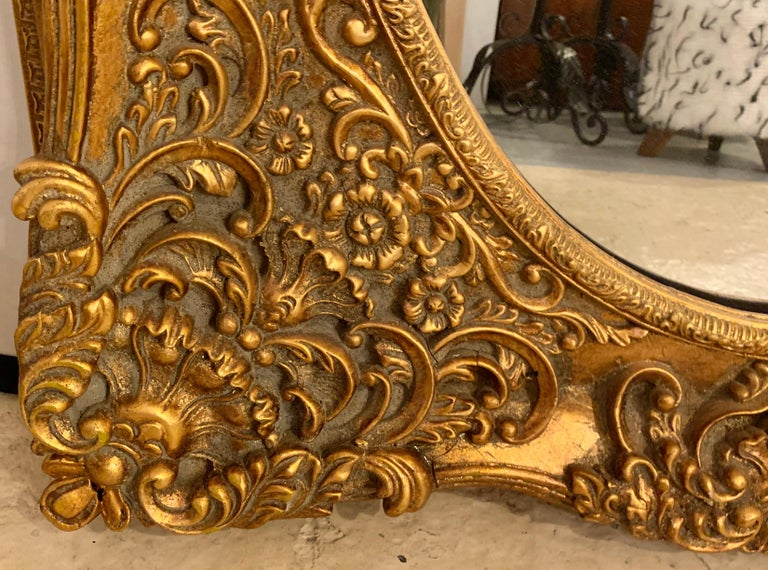 Pair of French Style Wall, Console or Pier Mirrors. Gilt Gesso and Wooden.  For Sale 6