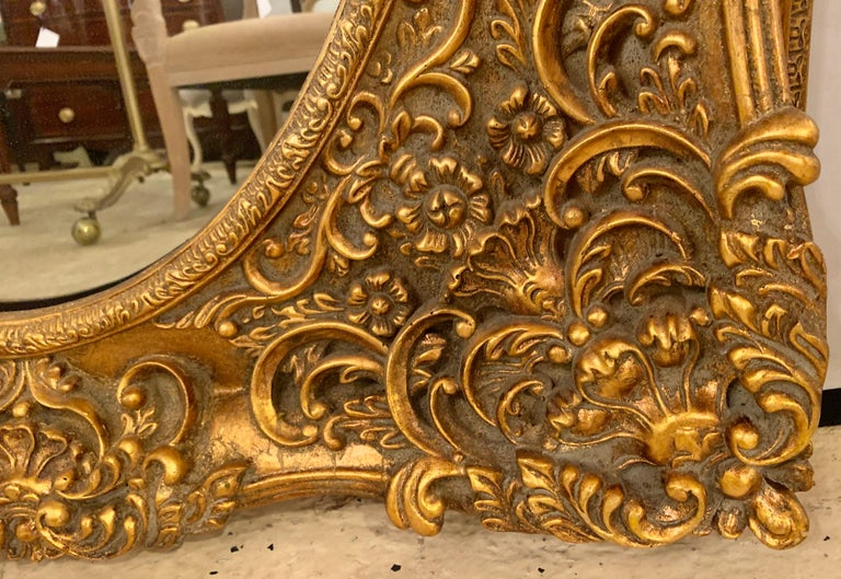 Pair of French Style Wall, Console or Pier Mirrors. Gilt Gesso and Wooden.  For Sale 7