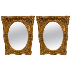 Pair of French Style Wall, Console or Pier Mirrors. Gilt Gesso and Wooden.