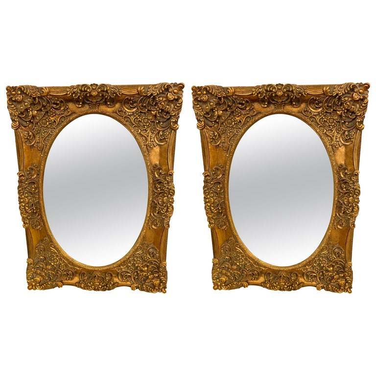 Pair of French Style Wall, Console or Pier Mirrors. Gilt Gesso and Wooden.  For Sale