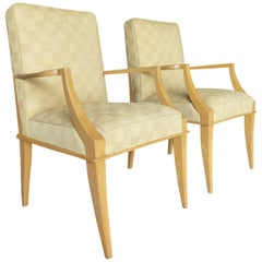 Pair of French Sycamore Wood Armchairs in the Manner of Andre, circa 1950s