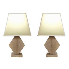 Pair of French Table Lamps in Shagreen, 1950s