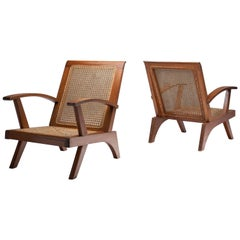Pair of French Teak Armchairs, France, 1950s