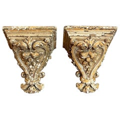 Pair of French Terracotta and Patinated Brackets