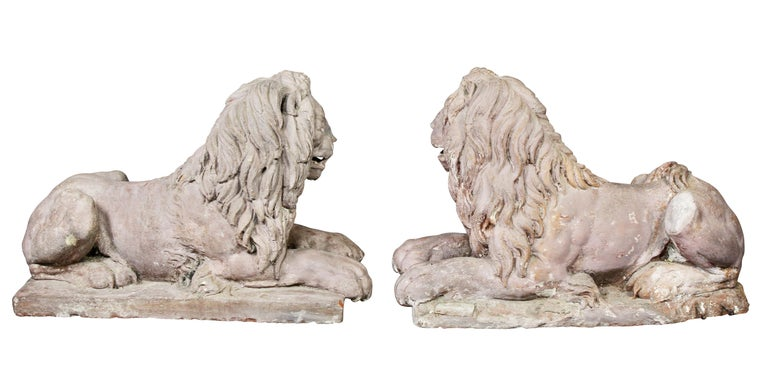 Pair of French Terracotta Figures of Crouching Lions For Sale 5