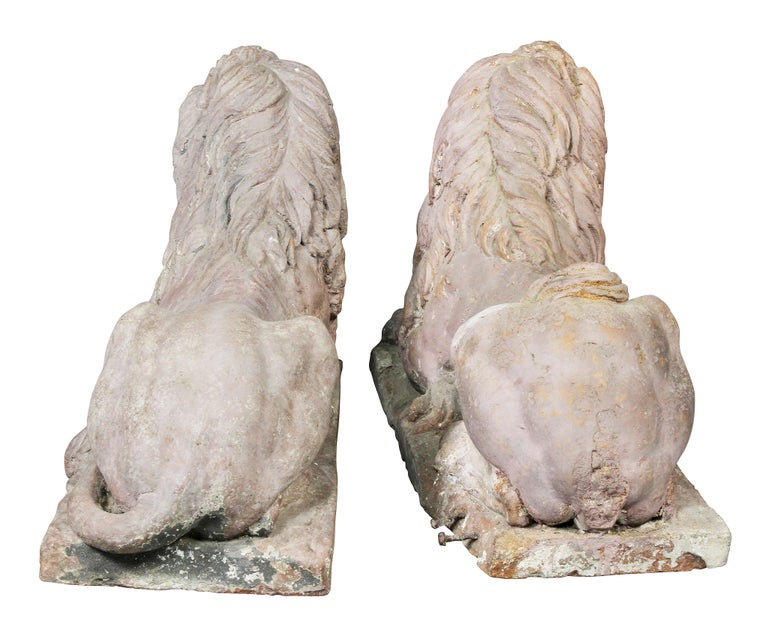 Pair of French Terracotta Figures of Crouching Lions For Sale 6