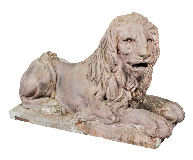 Mid-19th Century Pair of French Terracotta Figures of Crouching Lions For Sale