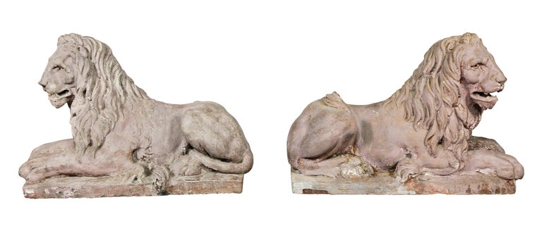 Pair of French Terracotta Figures of Crouching Lions For Sale 3