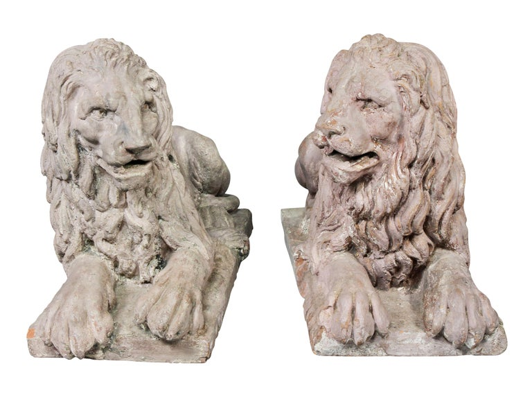 Pair of French Terracotta Figures of Crouching Lions For Sale 4