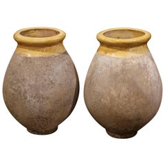 Pair of French Terracotta and Yellow Glazed Olive Jars from Provence