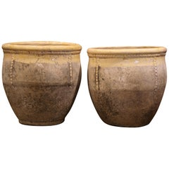 Pair of French Terracotta and Yellow Glazed Planters from Provence