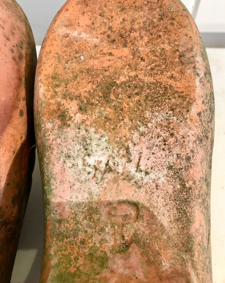 Pair of French Terracotta Dutch Clog Planters For Sale 8