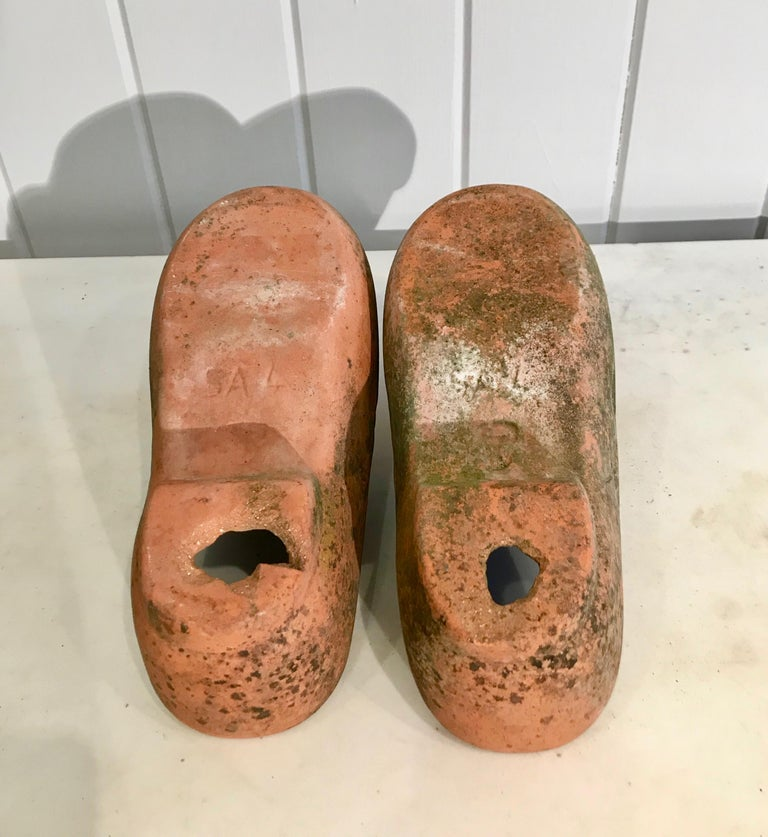 Pair of French Terracotta Dutch Clog Planters For Sale 11