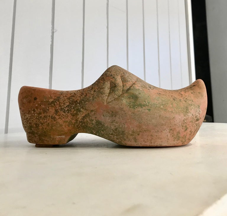 Pair of French Terracotta Dutch Clog Planters For Sale 4