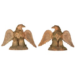 Pair of French Terracotta Garden Eagles Statues