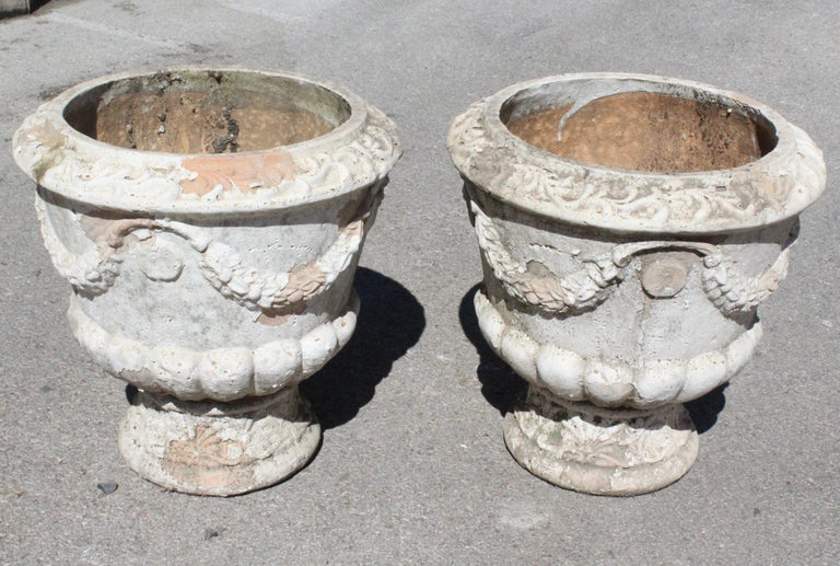 Pair of French terracotta garden planters.