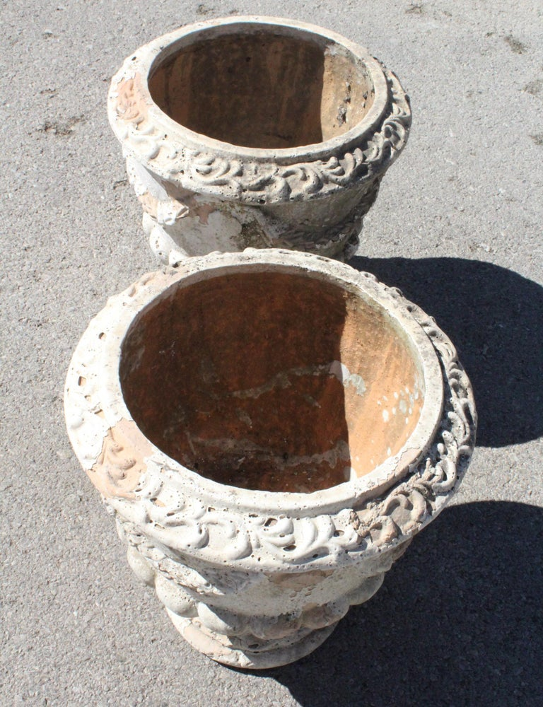 Pair of French Terracotta Garden Planters For Sale 4