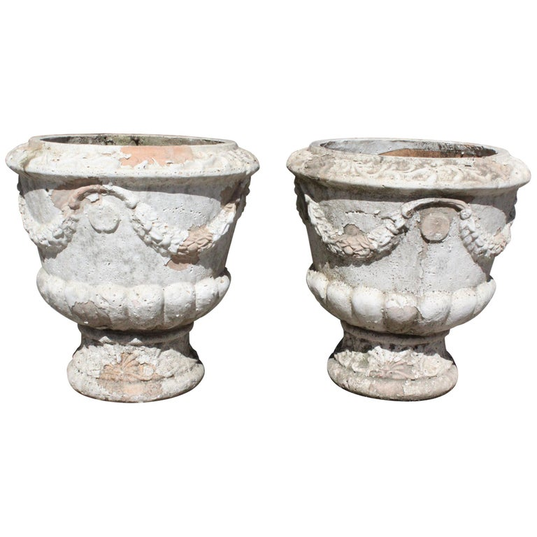 Pair of French Terracotta Garden Planters For Sale