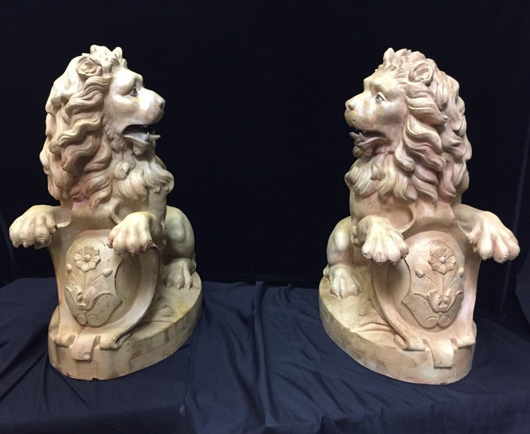 Pair of French Terracotta Lions, 19th Century Stamped For Sale 8