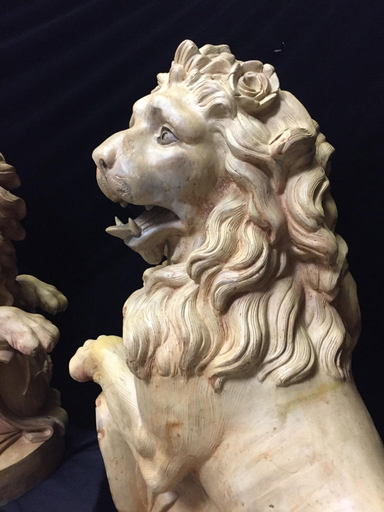 Pair of French Terracotta Lions, 19th Century Stamped In Good Condition For Sale In Cypress, CA