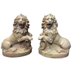 Pair of French Terracotta Lions, 19th Century Stamped